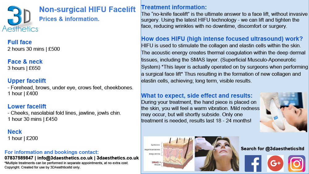 HIFU Facelift Prices & Info