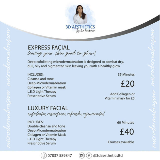 3d Aesthetics facial price list